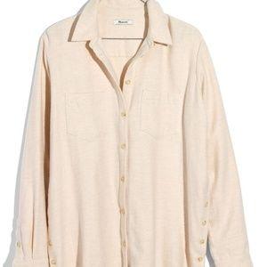 Ex-Boyfriend Side Button Flannel Shirt, Cream